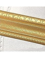 LQJin 3D präglad självhäftande skum golvlist väggklistermärke midjelinje golv hörn linje golvlist klistermärken vattentäta (färg: Guld, storlek: 230 cm x 8 cm 2 st)