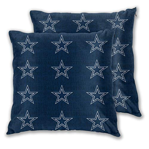 - Marrytiny Design Colorful Pillowcase Set of 2 Dallas Cowboys American Football Team Bedding Pillow Covers Pillow Cases for Sofa Bedroom Home Decorative - 18x18 Inches