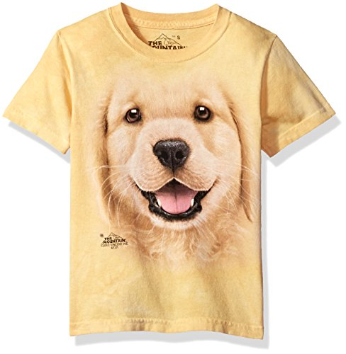 The Mountain Golden Retriever Pup Child T-Shirt, Yellow, Small (Pup Retriever)