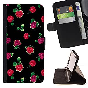Momo Phone Case / Flip Funda de Cuero Case Cover - Roses Noir Vert Rose minimaliste - Samsung Galaxy A5 ( A5000 ) 2014 Version