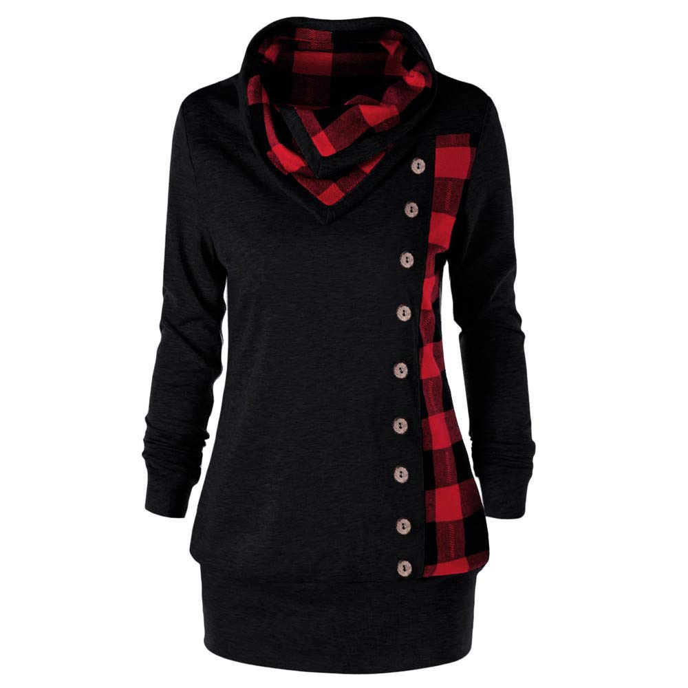 Women Turn-Down Collar Button Plaid Long Patchwork Sweatshirt Blouse Lapel Panel Sweater Top Vedolay