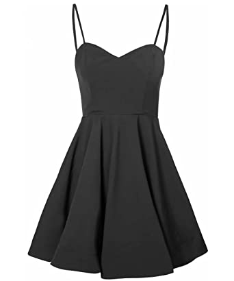 Simple A Line Prom Dress Spaghetti Straps Satin Short Homecoming Dresses with Pleats AiniDress Black Size