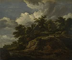 The high quality polyster Canvas of oil painting 'Jacob van Ruisdael A Rocky Hill with Three Cottages a Stream at its Foot ' ,size: 24 x 29 inch / 61 x 73 cm ,this Best Price Art Decorative Canvas Prints is fit for Gym decor and Home decoration and Gifts