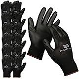 ACKTRA Ultra-Thin Polyurethane ( PU ) Coated Nylon WORK GLOVES 12 Pairs / Dozen, Knit Wrist Cuff, for Precision Work, for Men & Women, Black, Small, WG002