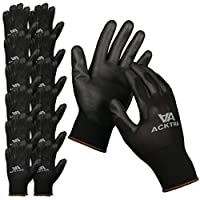 ACKTRA Ultra-Thin Polyurethane (PU) Coated Nylon Safety WORK GLOVES 12 Pairs, Knit Wrist Cuff, for Precision Work, for Men & Women, WG002 Black X-Large