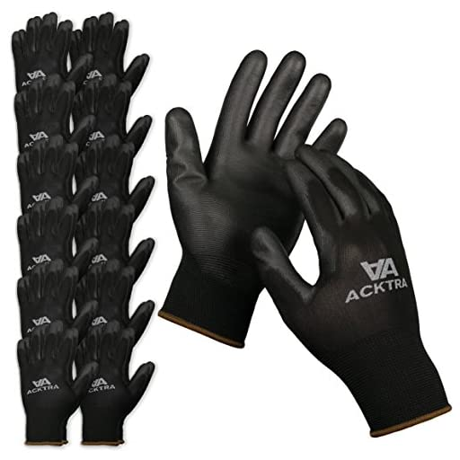ACKTRA Ultra-Thin Polyurethane (PU) Coated Nylon WORK GLOVES 12 Pairs, Knit Wrist Cuff, for Precision Work, for Men & Women, WG002 Black X-Large