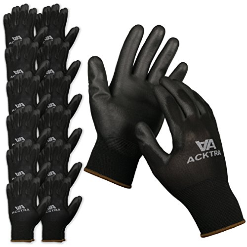 ACKTRA Ultra-Thin Polyurethane (PU) Coated Nylon WORK GLOVES 12 Pairs, Knit Wrist Cuff, for Precision Work, for Men & Women, WG002 Black Large