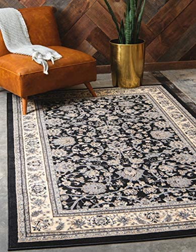 Unique Loom Kashan Collection Traditional Floral Overall Pattern with Border Black Area Rug 6 0 x 9 0