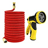 Zhjdongtuo Expandable Water Hose With Best Available- Flexible Triple Layer Latex,Strongest Brass Connections, 9-Pattern Spray Nozzle And High Presure (50FT)