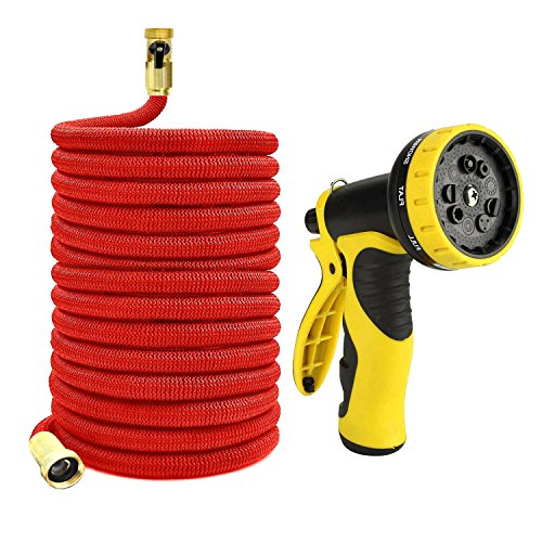 Zhjdongtuo Expandable Water Hose With Best Available- Flexible Triple Layer Latex,Strongest Brass Connections, 9-Pattern Spray Nozzle And High Presure (50FT) by Zhjdongtuo