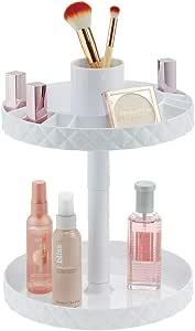 mDesign Organizador de cosméticos Giratorio – Elegantes bandejas de baño para lociones, cosméticos y medicamentos – Bandejas Redondas de Dos Alturas para organizar Maquillaje – Blanco