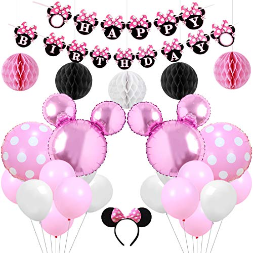 Pink Minnie Mouse Party Supplies Decorations Happy Birthday Banner Headband for Girls Birthday Baby Shower
