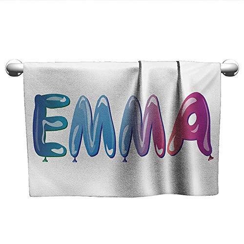 (Emma,Small Bath Towels Feminine Girl Name Design with Ornate Balloons Mainstream Female Themed Illustration Machine Washable Multicolor W 20