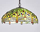 New Legend Tiffany Style Stained Glass Dragonfly Hanging Lamp Ceiling Fixture TL16013 - 18-inch wide