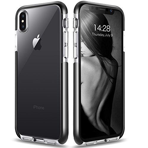 Sankmi Compatible iPhone Xs Max, 3D Bling Clear Gradient Glitter Sparkle Design Case Flexible Soft TPU Bumper Shockproof Protective Case iPhone Xs Max (Clear Black)