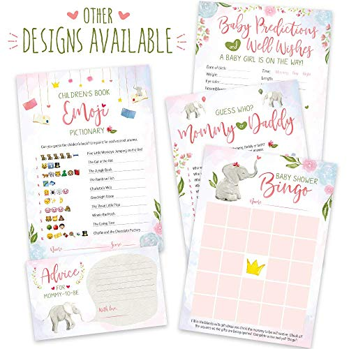 Baby Shower Games for Girls | Pink Elephant Theme | Pack of 5 Activities for 50 Guests, 5x7 Cards | Includes Baby Predictions, Baby Bingo, Emoji | Baby Girl Shower -