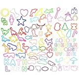 Fun Silly Assorted Shapes, Colors and Sizes Silicone Silly Bandz Rubber Band Bracelets Party Favors- 6 Packs with 24 Bands in Each Pack (144 Wristbands Total)