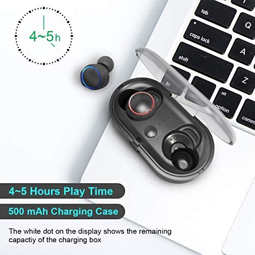 JINDUN True Wireless 5.0 Bluetooth Earbuds with Powerful Bass and Crystal-Clear Stereo, 5H Continuous 30H Cycle Time, Headphones for Android iOS Phone Calls Music Video Games Sport, with Charging Box