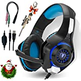 Professional Headset Gaming with Noise Cancelling Mic Used in PC PS10 Xbox One, Headphones Over-The-Ear Lightweight Design with USB LED Light Stereo Surround Compatible Laptop Smartphones