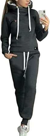 Chandal Conjunto para Mujer Invierno Otoño Casual Conjuntos Deportivos, Moda Manga Larga Pullover con Cordón Sudadera Tops + Pantalones Largo 2pcs Tallas Grandes