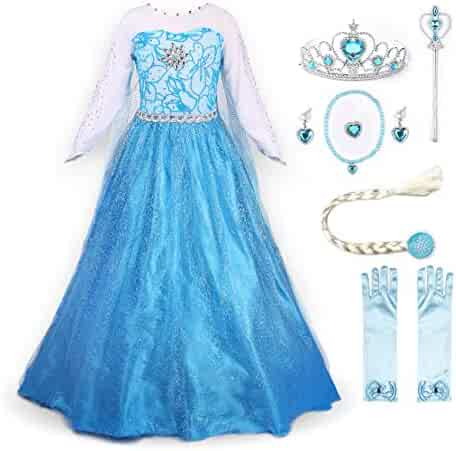 JerrisApparel Snow Party Elsa Dress Queen Costume Princess Anna Girls Dress Up