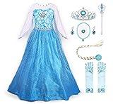 JerrisApparel Snow Party Elsa Dress Queen Costume Princess Anna Girls Dress Up (8-9, Elsa with Accessories)