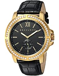 Sean John Mens  Quartz Metal and Leather Dress Watch, Color:Black (Model: SJC0172002)