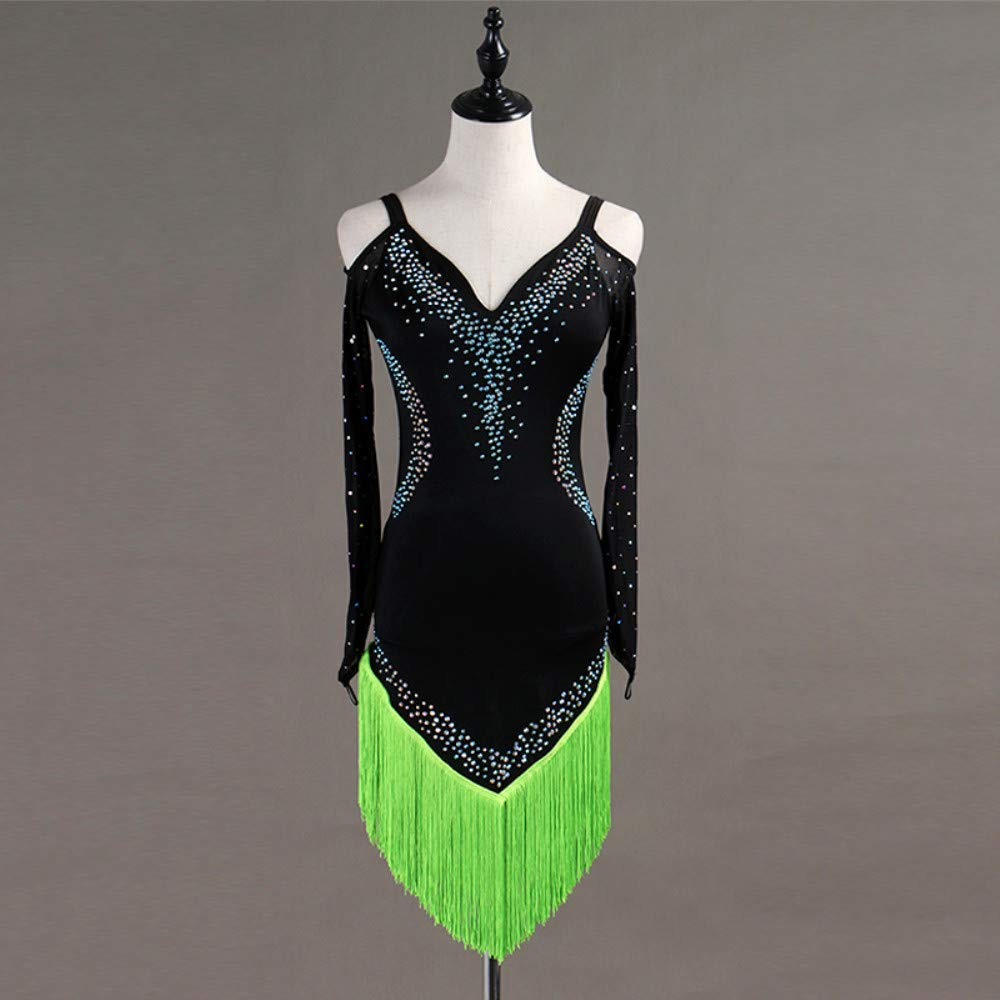 大特価!! ラテンダンスドレス女性のパフォーマンススパンデックスタッセル結晶ラインストーン長袖ドレス B07P7F7N2V XL|Green XL|Green B07P7F7N2V Green Green XL, Noah:8ae0b9b1 --- a0267596.xsph.ru