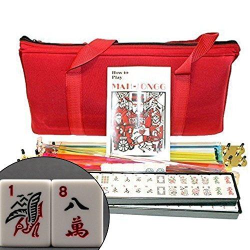 KT Mahjong 4 Pushers and Complete American Mahjong Set with Burgundy Bag, 166 Tiles by KT Mahjong