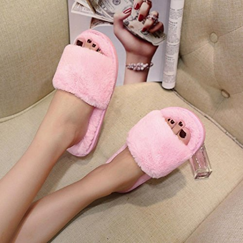 Deesee (tm) Femmes Dames Glisser Sur Les Sliders Moelleux Faux Fourrure Pantoufle Plate Flip Flop Sandale Rose