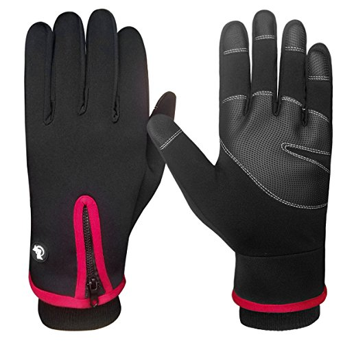 LETHMIK Mens Windproof Touchscreen Gloves Winter Outdoor Cycling Motorcycle Ski Glove Red-XL