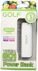 Golf GF-801 2600mAh Batería externa power bank cargador auxiliar teléfono móvil tablet. Capacidad real (rendimiento superior al 70%). Cédulas Samsung. CE, FCC, RoHS. Incluido cable USB a microusb (no incluidos adaptadores para Apple). Precio por unidad. Colores disponibles Rosa y Blanco.