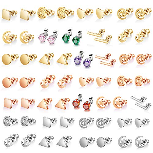 31 Pairs Stainless Steel Multiple Dainty Bar Dot CZ Earring Set-Mini Heart Shape Square Triangle Disc Moon Star Stud Earring Set-CZ Studs New Year Christmas Gift for Teens Girls Women Men (2#) ()