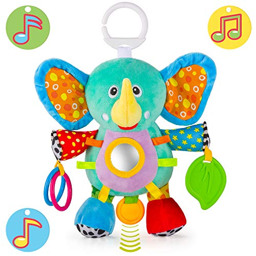 - OKIKI Elephant Plush Infant Toy, Baby Development Toys w/ Musical Box (No Batteries Required), Squeaky Feet, Kids Mirror & BPA Free Teether | Stroller, Crib, Carseat Baby Toys