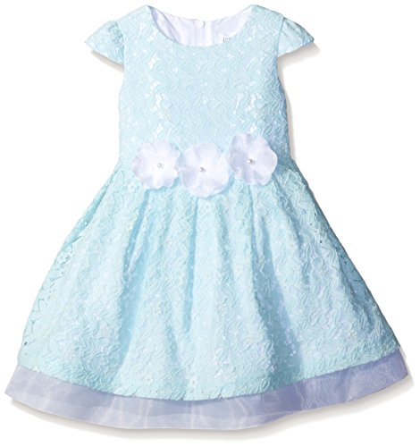 Cotton Tulle Lace Trim (Little Angels Slim Girls Cap Sleeve With Organza Underlay and Flower Trim Lace Dress, Blue, 6)