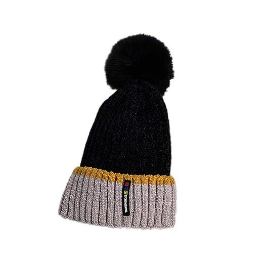 b4ff0e9a5 Amazon.com: Children's Hats Wool Ball Knit Hat Winter Thick Warm ...
