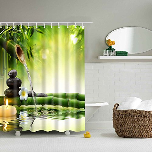 Fabric Shower Curtain Spa Decor By Comroll Green Yellow Mildew Resistant Bathroom Zen Garden Theme View For Magical Japanese Design