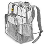 Extra-Large Clear Transparent Backpack by PLANET MADE FAMILY | Built Durable Tough, Holds 20 LBS | Thick See Through PVC Outdoor School Bag | for Men, Women, Kids | 17' Tall x 6' Deep x 13' Width