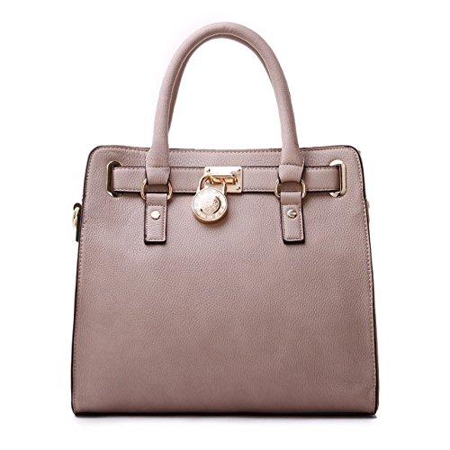 Women's Designer Handbags Padlock Belted Satchel Bags Top Handle Handbag Purse Shoulder Bag (Beige) by Ferrarany