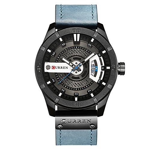 CURREN Men Quartz-analog Watches Multifunctional Military Sport Wristwatch Waterproof Leather Strap with Date Display Valentine's Day Gift for him 8301 (blue) - Strap Date Display