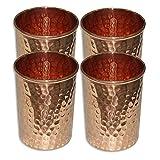 Bleaching Hair Lemon Juice - martsindia Set of 4, Copper Glass for Ayurveda Health Benefits Drink ware Hammered Tumbler