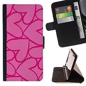 - hearts pink purple love valentines - - Prima caja de la PU billetera de cuero con ranuras para tarjetas, efectivo desmontable correa para l Funny HouseFOR HTC One M8