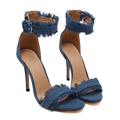 Super Strap Jeans Women's Sandals Light Buckle fereshte Blue Fabric Ankle Sexy High Tassels Stiletto Heels 8EnwqYp
