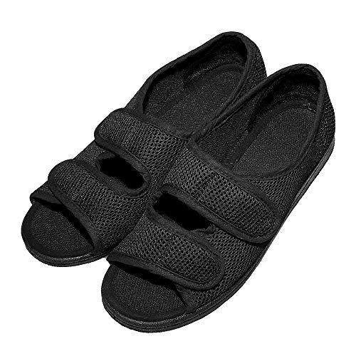 Cozy Ankle Women's Diabetic Sandals Extra Wide Open Toe Shoes Flat Feet Arthritis Edema Mesh Slippers for Elderly Woman (6 D(M) US, Black)