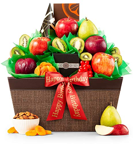 GiftTree Happy Birthday Five Star Fruit Gift Basket | Includes Pears, Apples, Kiwis, Plums, Almond Roca, Cranberry Oatmeal Cookies & More | Perfect Way to Celebrate Their Special Day