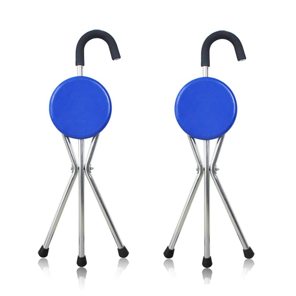 NUBAO ウォーキングスティック高齢者折り畳み式椅子/スツール松葉杖アルミウォーカー湾曲ハンドル長さ85(33.46インチ)パネル直径21.5 cm (サイズ さいず : 二) 二  B07CQM83DN