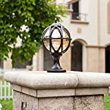 Modeen Outdoor Waterproof Table Lamp Post Light Column Lamp European LED Fence Door Villa Balcony Patio Spherical Glass Aluminum Light E27 Decoration Street Light (Color : Black, Size : S)