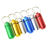 6pcs Waterproof Aluminum Pill Box Case Bottle Cache Drug Holder Keychain Container Color Random