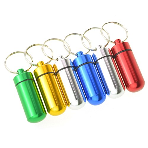 (Dxhycc 6pcs Waterproof Aluminum Pill Box Case Bottle Cache Drug Holder Keychain Container Color Random)