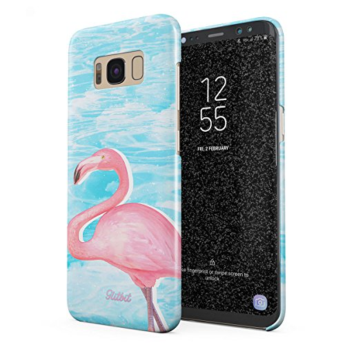 Glitbit Compatible with Samsung Galaxy S8 Plus Case Blue Sky Pink Flamingo Rose Bird Summer Animal White Sprinkles Pattern Thin Design Durable Hard Shell Plastic Protective Case Cover ()
